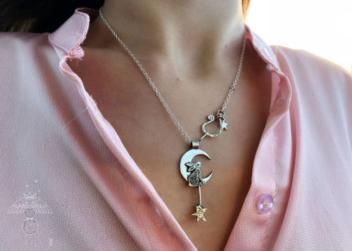 Moon hare jewellery handmade and recycled silver coin necklace made in an independent artisan workshop studio