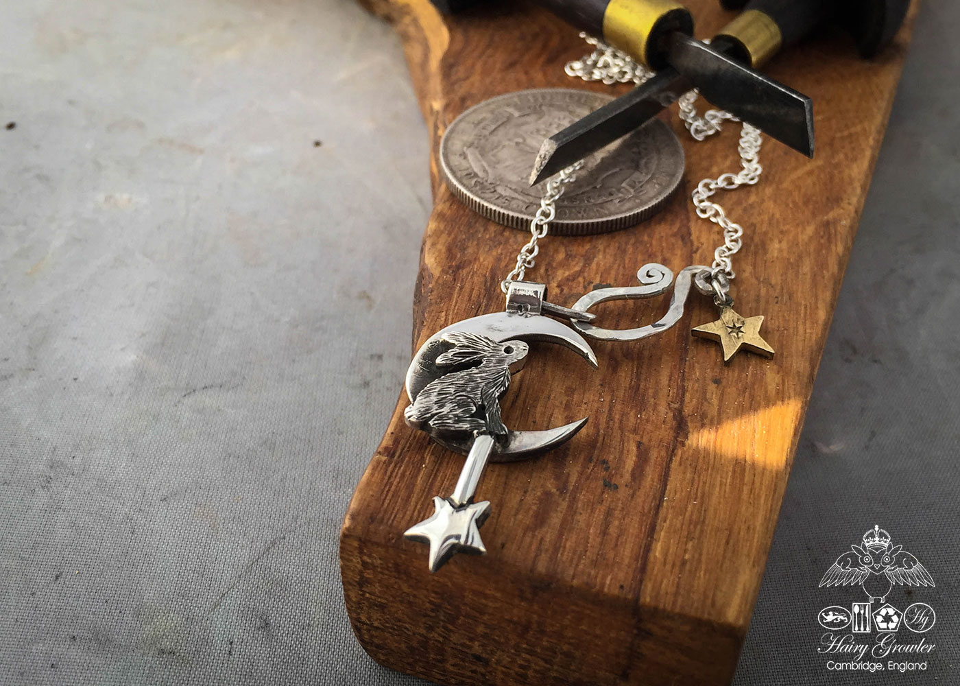 handcrafted and recycled sterling silver moon, star and hare charm for a tree sculpture, necklace or bracelet