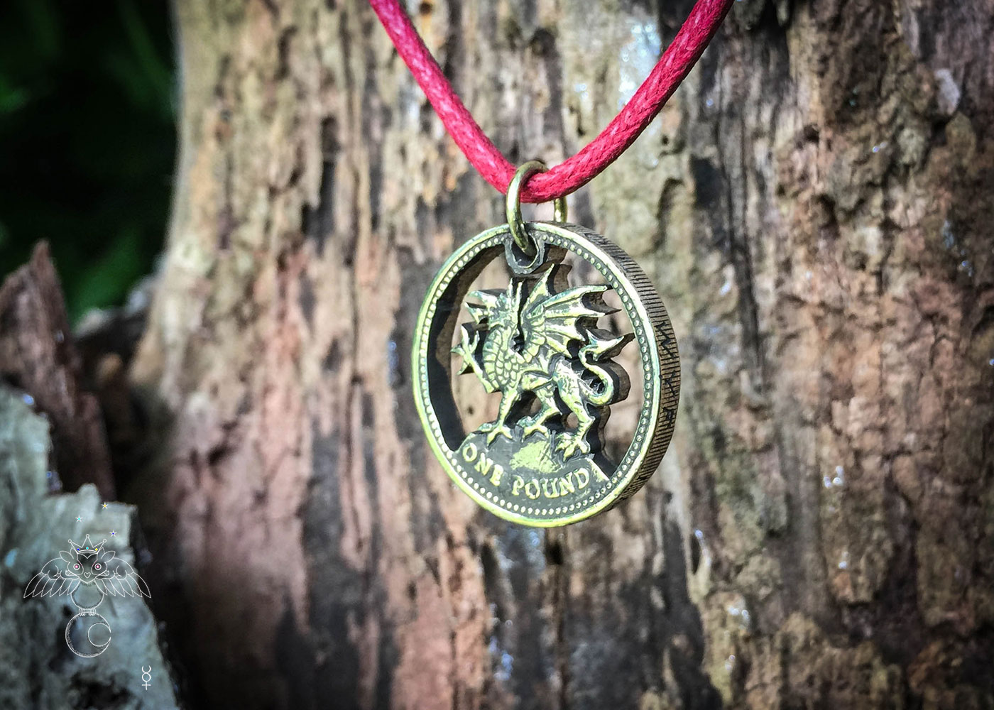 Welsh Dragon coin jewellery - hand cut recycled out of circulation old £1 coin