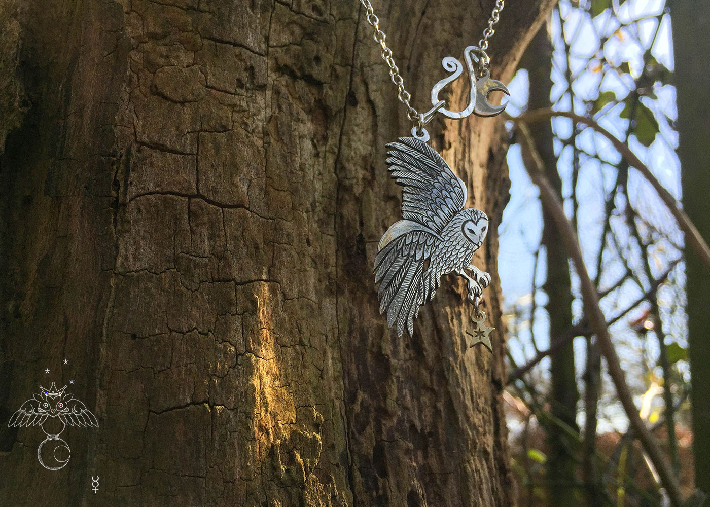 Owl necklace handcrafted and recycled sterling silver coin owl necklace made in Cambridge