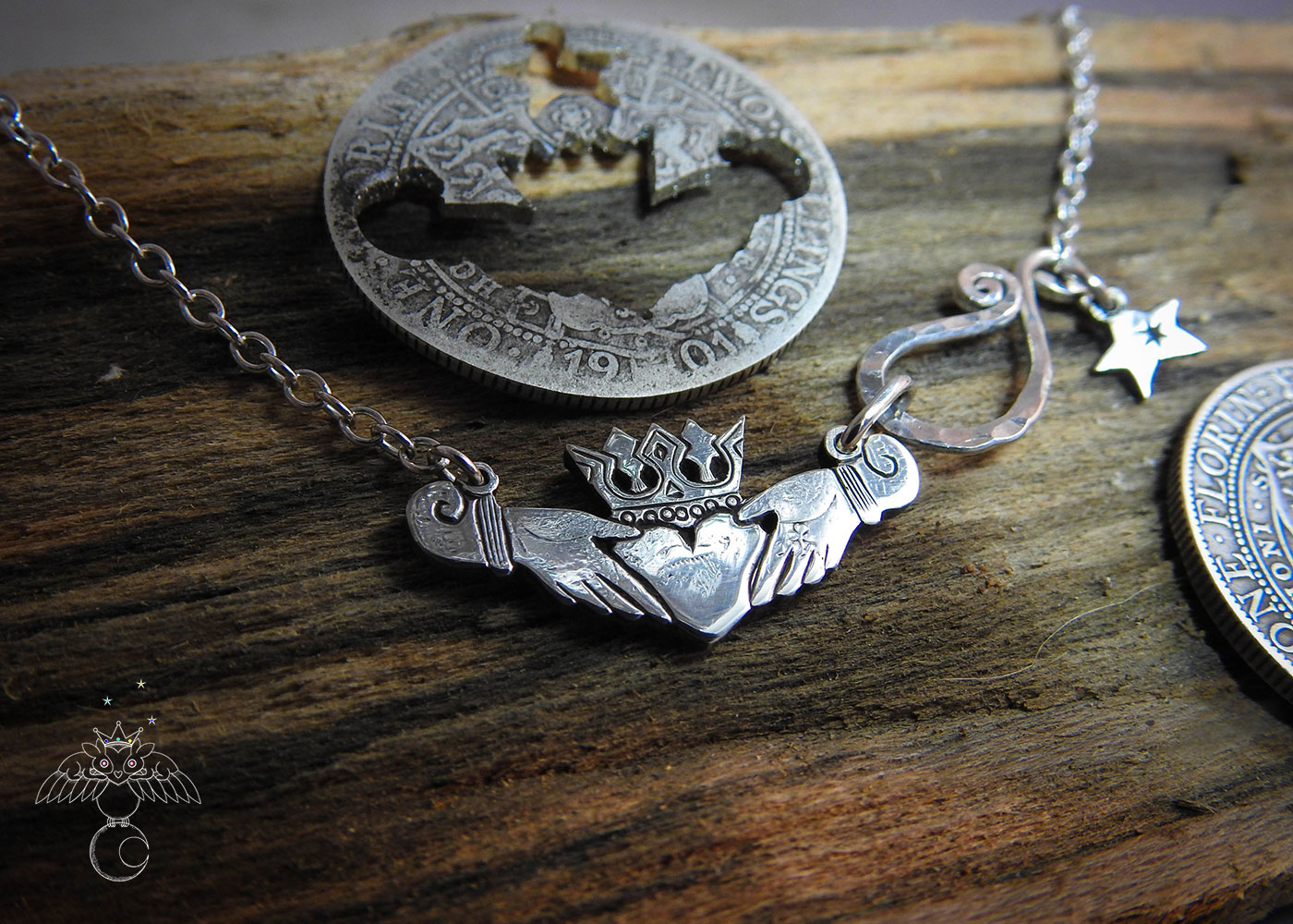 Claddagh jewellery - handmade and ethical silver Florin coin. The Hairy Growler Love collection. Handcrafted and repurposed Victorian silver Florin Claddagh necklace by Hairy Growler.