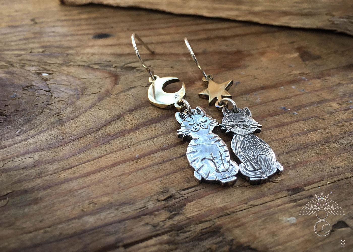 Ethical Cat earrings handcrafted and recycled silver coin cat earrings