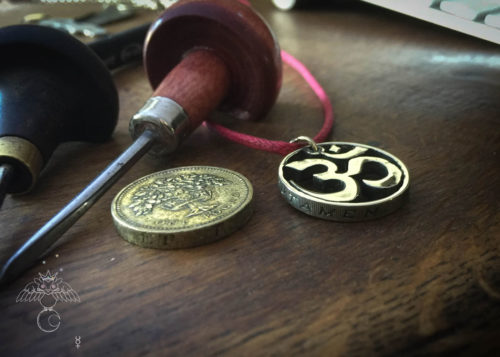 Handcrafted and recycled om coin pendant necklace