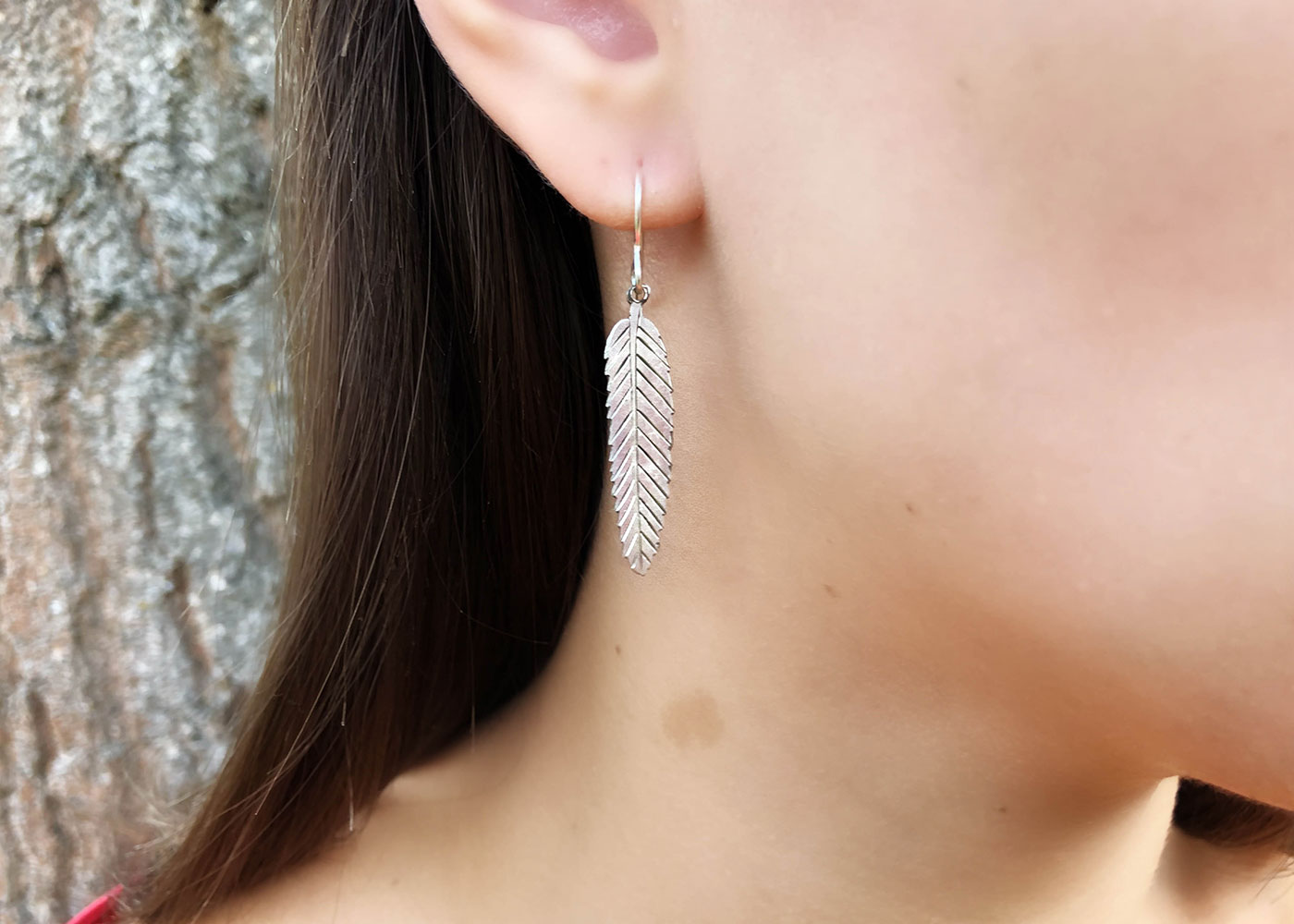Rowan tree leaves earrings ethical jewellery made from recycled silver coins.