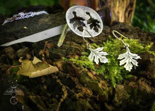 May tree jewellery handmade and upcycled coin Hawthorn leaves leaf earrings
