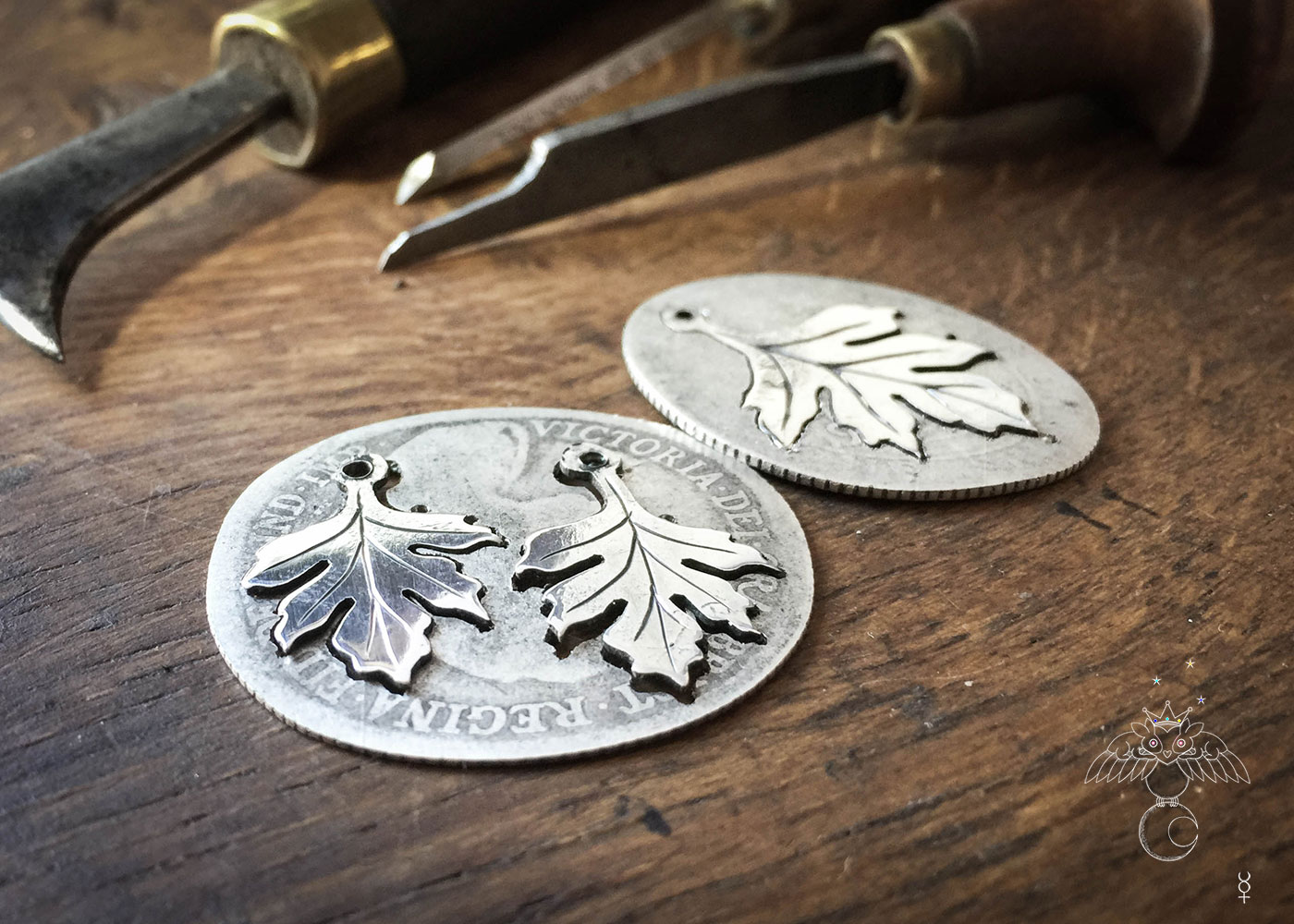 handcrafted and recycled silver florin coin Hawthorn leaf leaves necklace