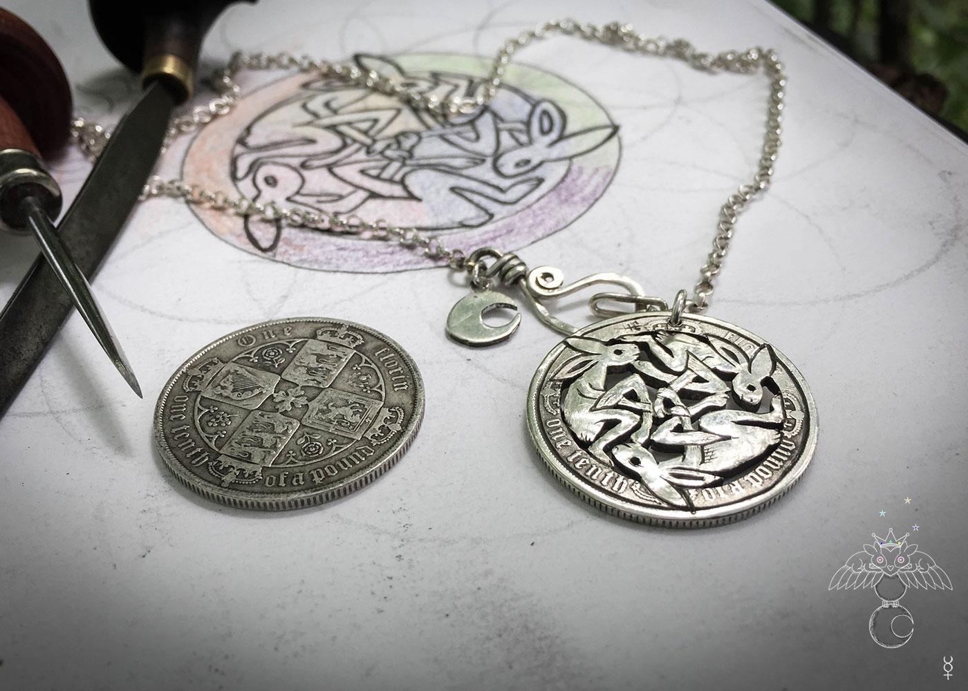 Celtic Hare jewellery handmade and upcycled silver coin hare necklace