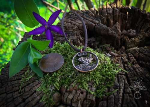 Farthing coin jewellery Hand cut, carved and engraved Jenny Wren Farthing coin pendant necklace made in the Hg workshop