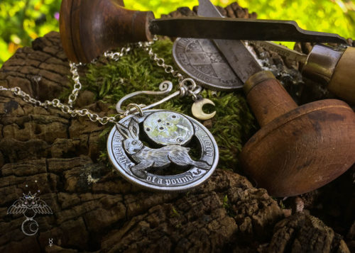 Magical hare jewellery handmade and upcycled silver coin leap hare moon magic necklace pendant