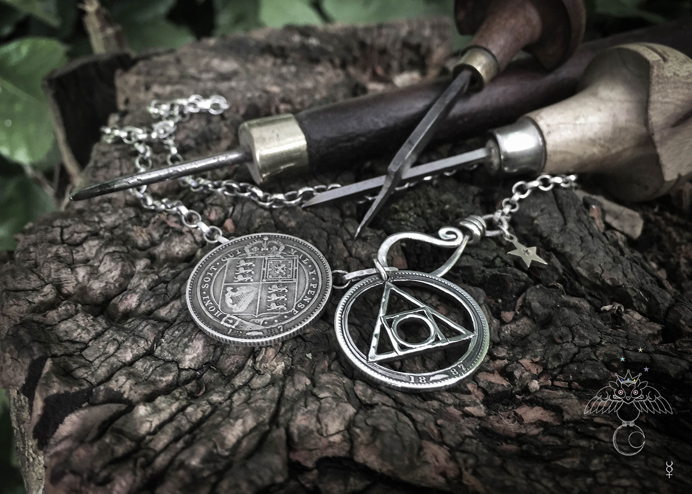 handcrafted and recycled silver shilling quintessence philosophers stone necklace