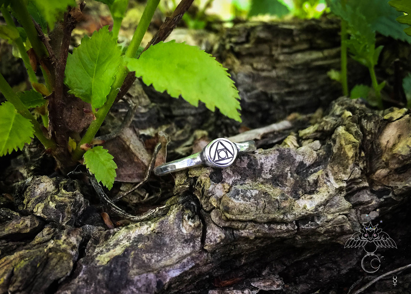 handcrafted and recycled silver philosophers stone quintessence symbol ring
