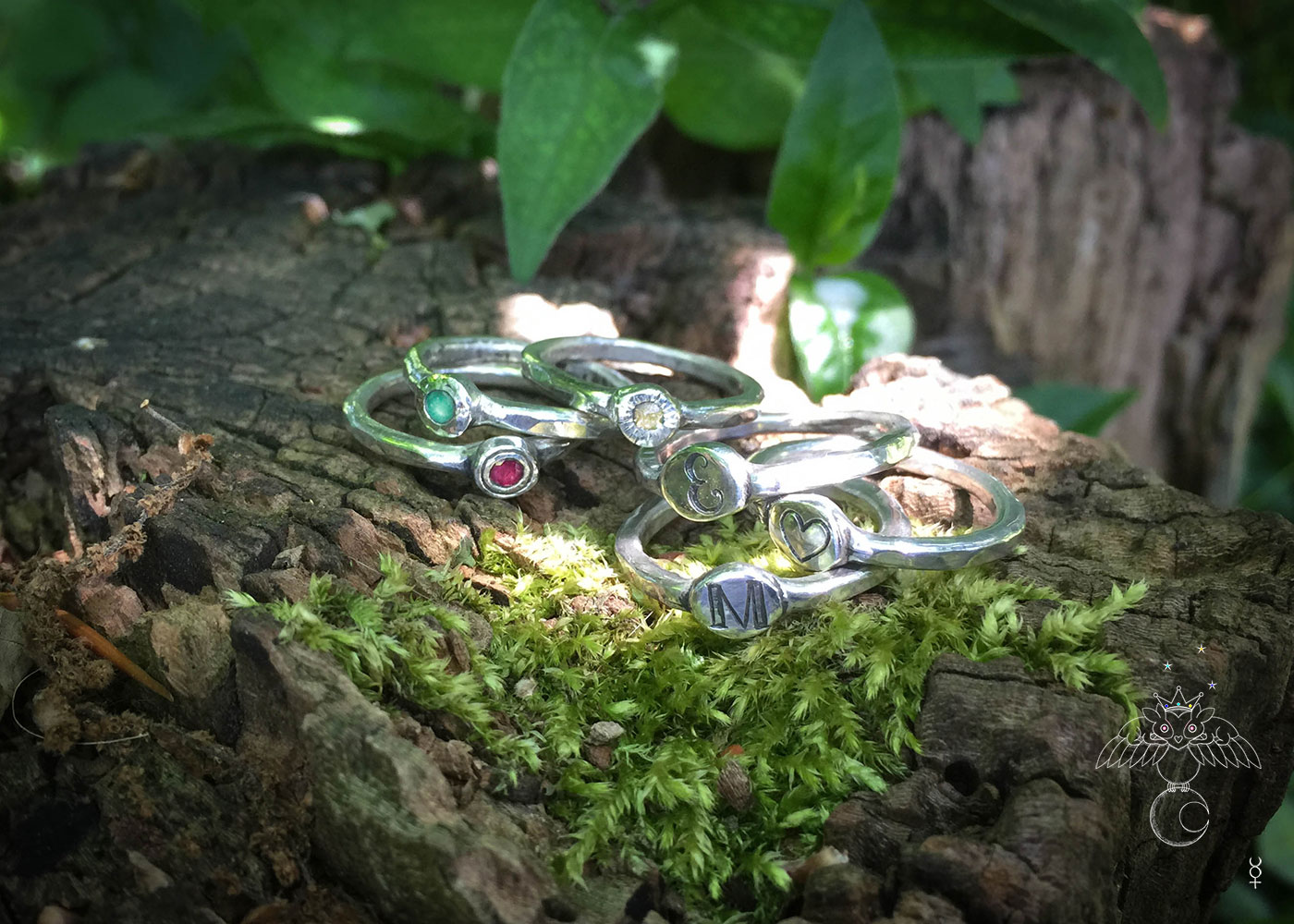 Symbols of love handcrafted and recycled silver symbols of love personalised initial stacking rings