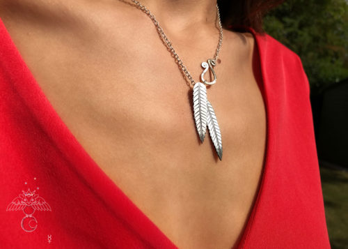 Rowan tree leaves necklace ethical jewellery made from recycled silver coins.