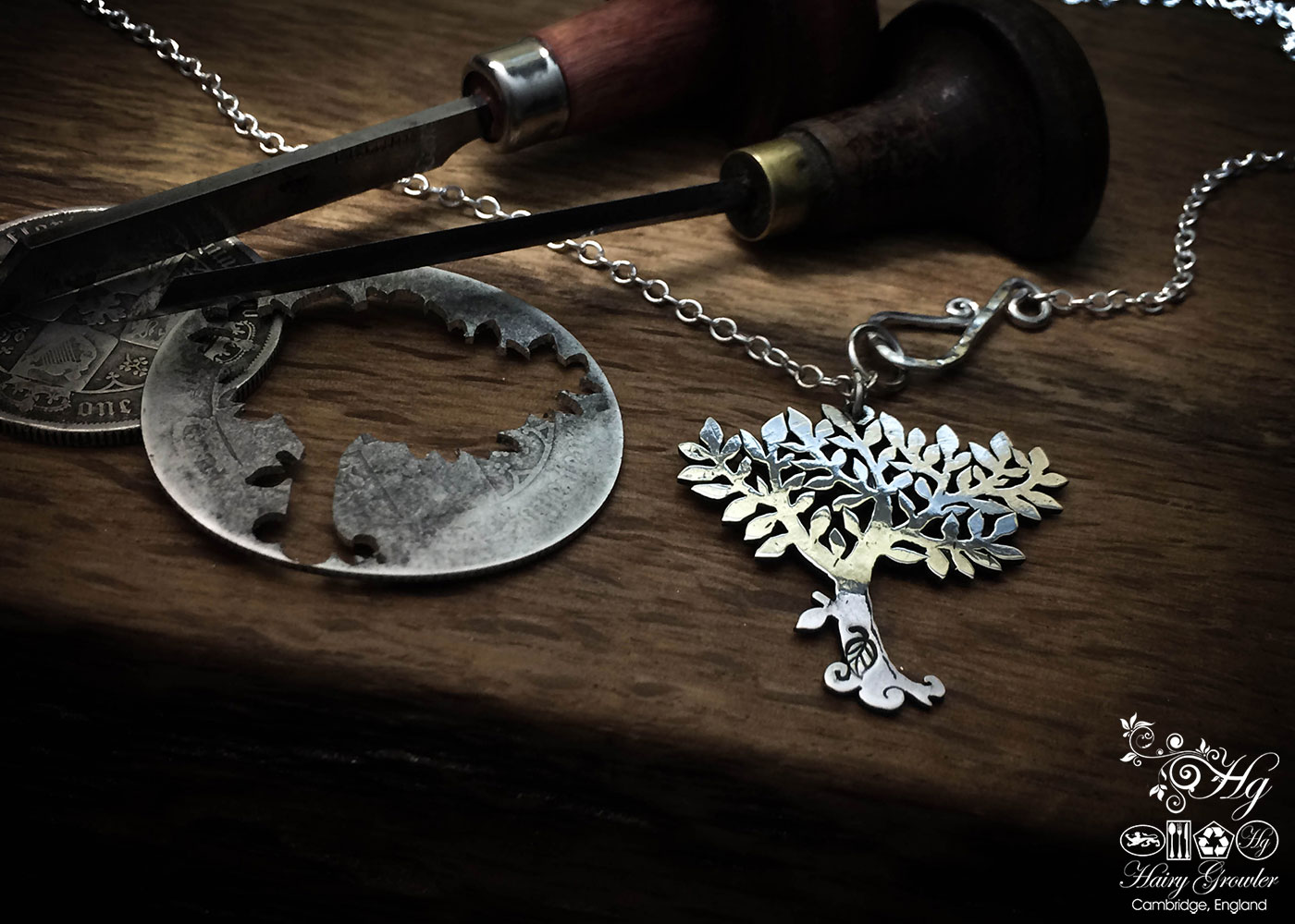 Handmade and upcycled silver coin summer spring tree necklace