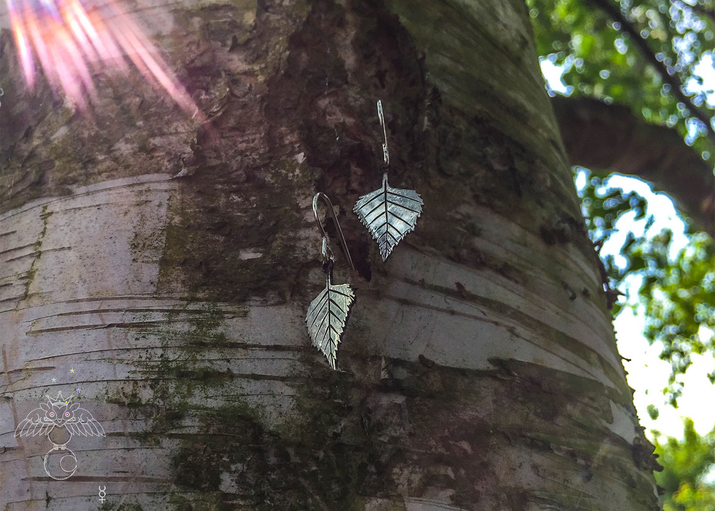 handmade and upcycled coin silver Birch leaves leaf earrings