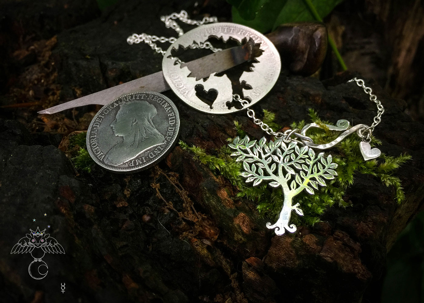Handcrafted and recycled silver coin Elder tree necklace