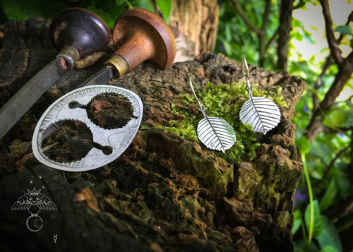 Ogham tree jewellery handmade and upcycled coin silver alder leaves leaf earrings