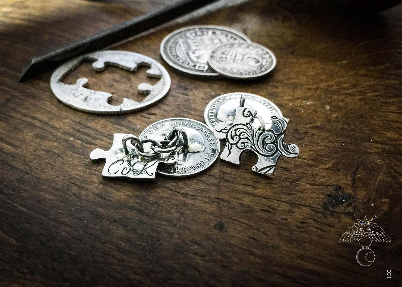 Ethical jewellery. Handmade and repurposed lucky threepence coin jigsaw cufflinks