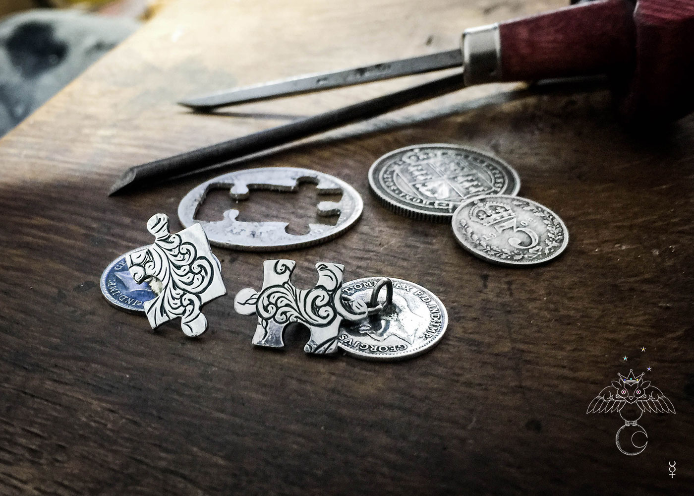 Handcrafted and repurposed lucky threepence coin jigsaw cufflinks