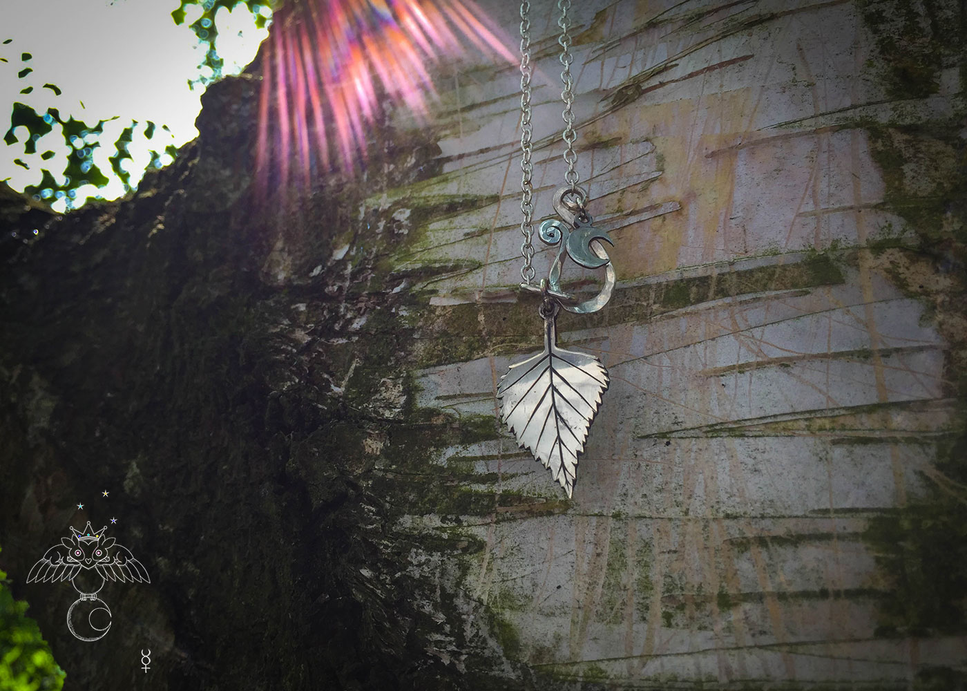 handcrafted and recycled silver florin coin silver-birch leaf leaves necklace