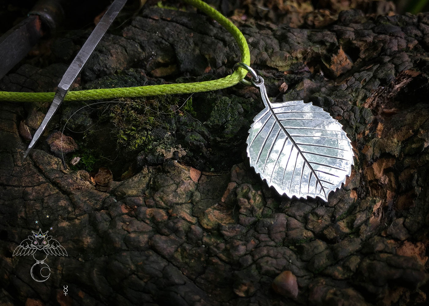 handcrafted and recycled silver florin coin hazel leaf leaves necklace