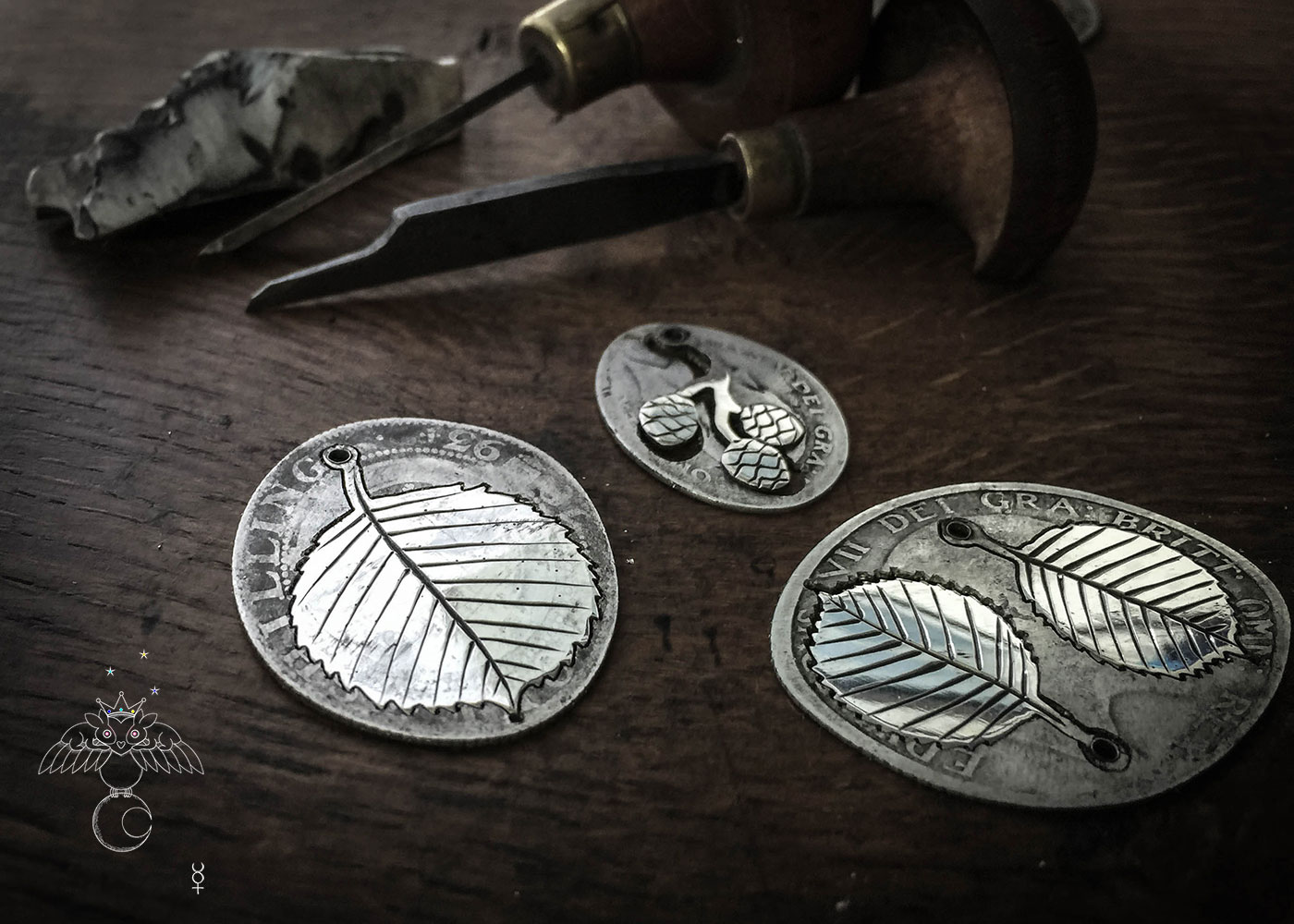 handcrafted and recycled silver florin coin Alder leaf leaves necklace