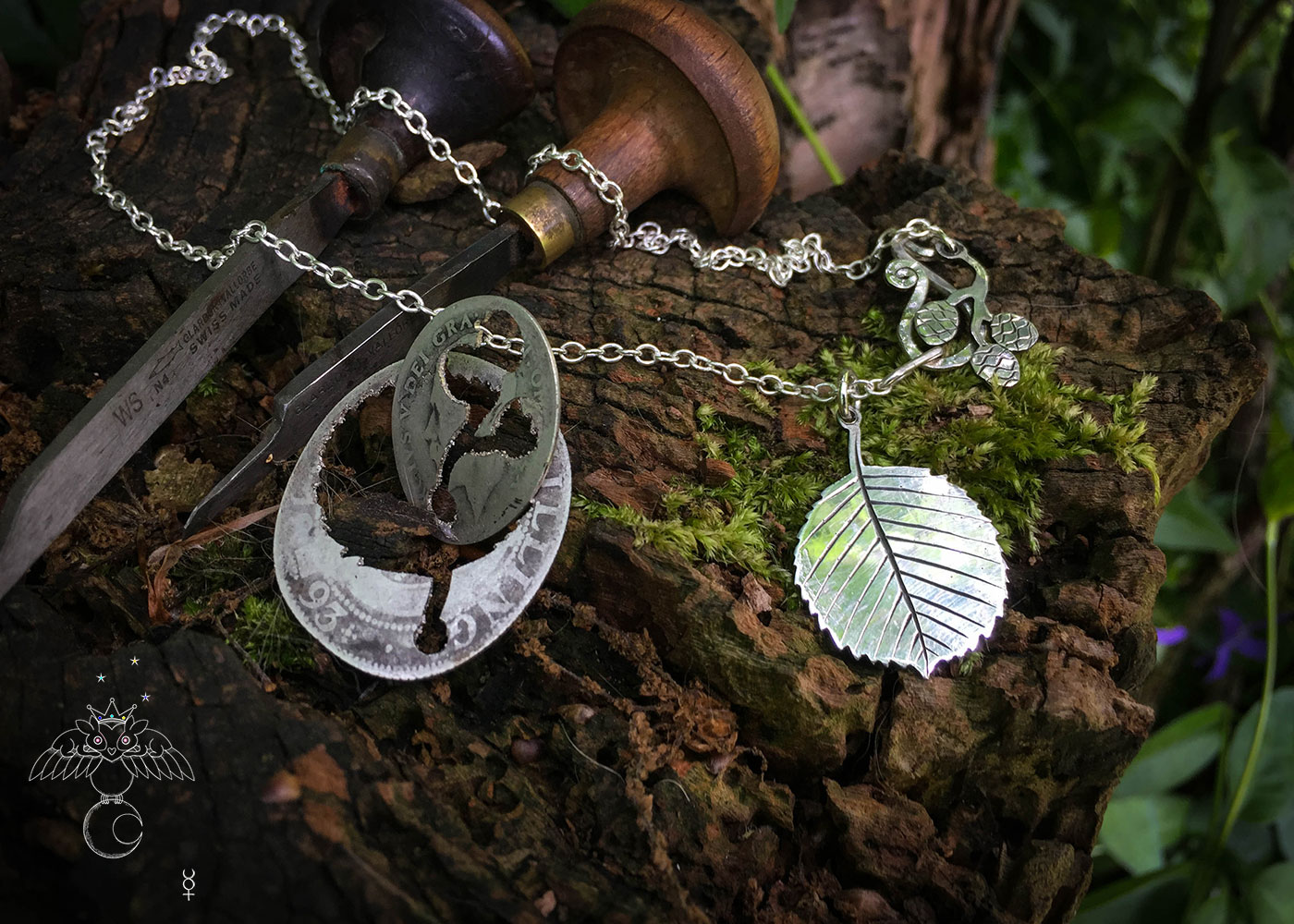 Ogham tree pendant handcrafted and recycled silver florin coin Alder leaf leaves necklace