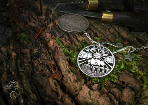 handmade and recycled silver shilling coin moon gazing summer solstice stonehenge necklace