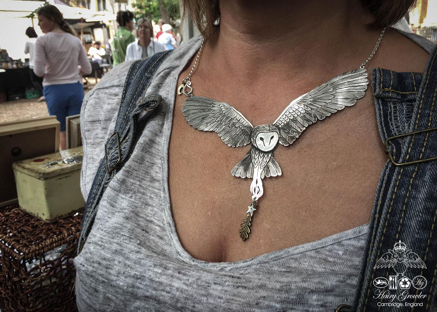 handcrafted and recycled silver coin owl necklace
