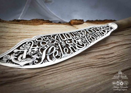 Ethical wedding gifts and heirloom quality wedding cakes knives created from transformed antique silver.
