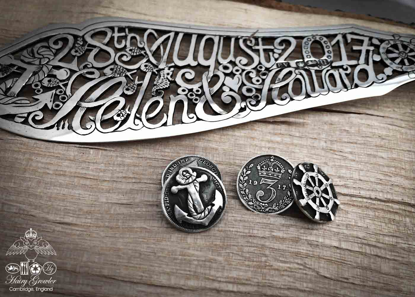 Ethical wedding cufflinks in the making. Eco-conscious, eco-friendly, green, artisan wedding cake knife created and recycled from an antique silver fish knife and silver coins