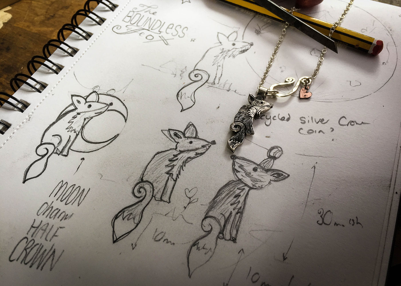 Fox jewellery - handmade using traditional tools and techniques reusing 100 year old sterling silver coins