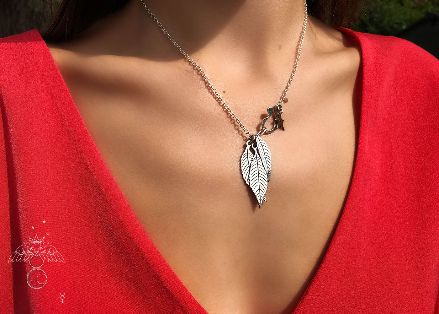 Ash tree leaves necklace - handcrafted and recycled ethical jewellery made from silver Victorian Florins.