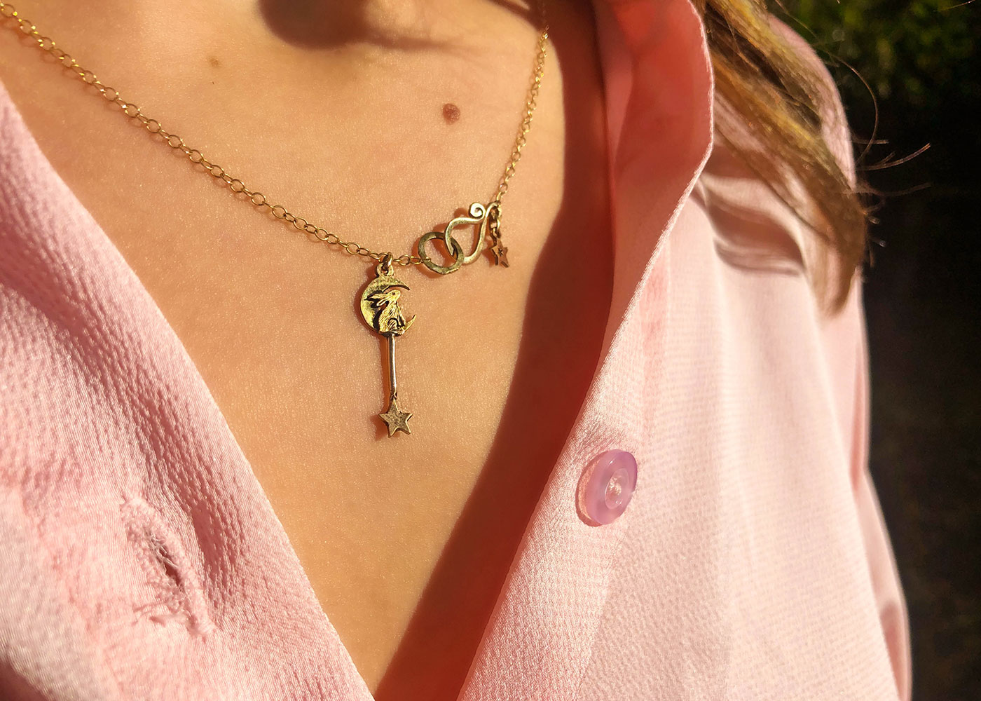 Gold moon gazing hare necklace - handcrafted and recycled 22ct gold coin.