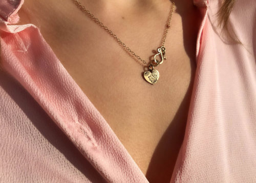 Gold love heart necklace - handcrafted and recycled 22ct gold coin.