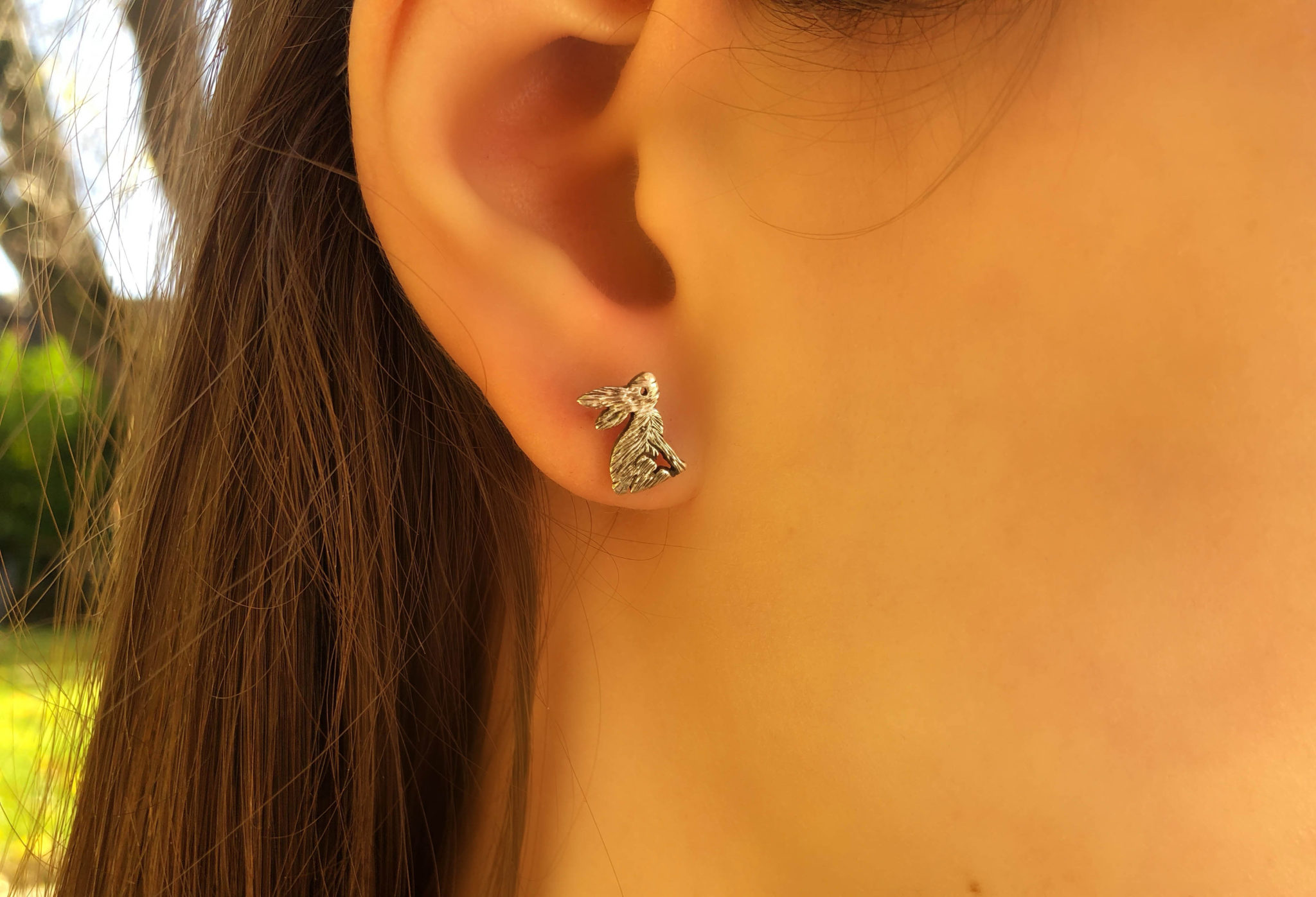 Moon gazing hare earrings - handmade and recycled sterling silver shilling coin.