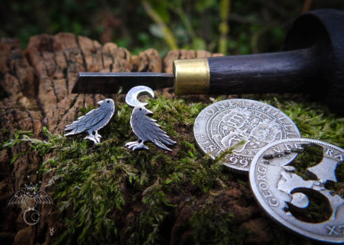 Raven earrings - handmade and recycled sterling silver shilling coin.