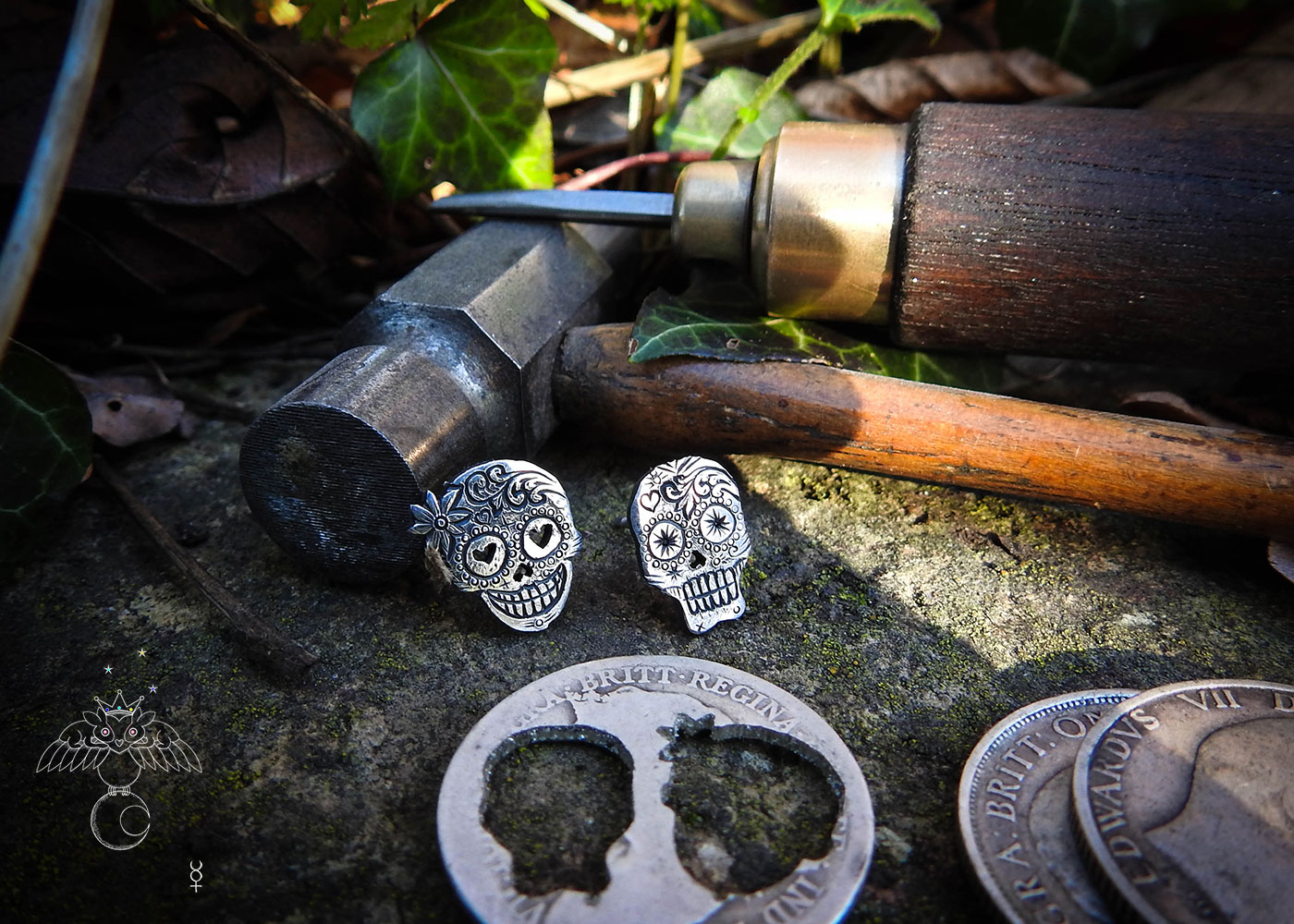 Day of the dead skull earrings - handmade and recycled sterling silver shilling coin.