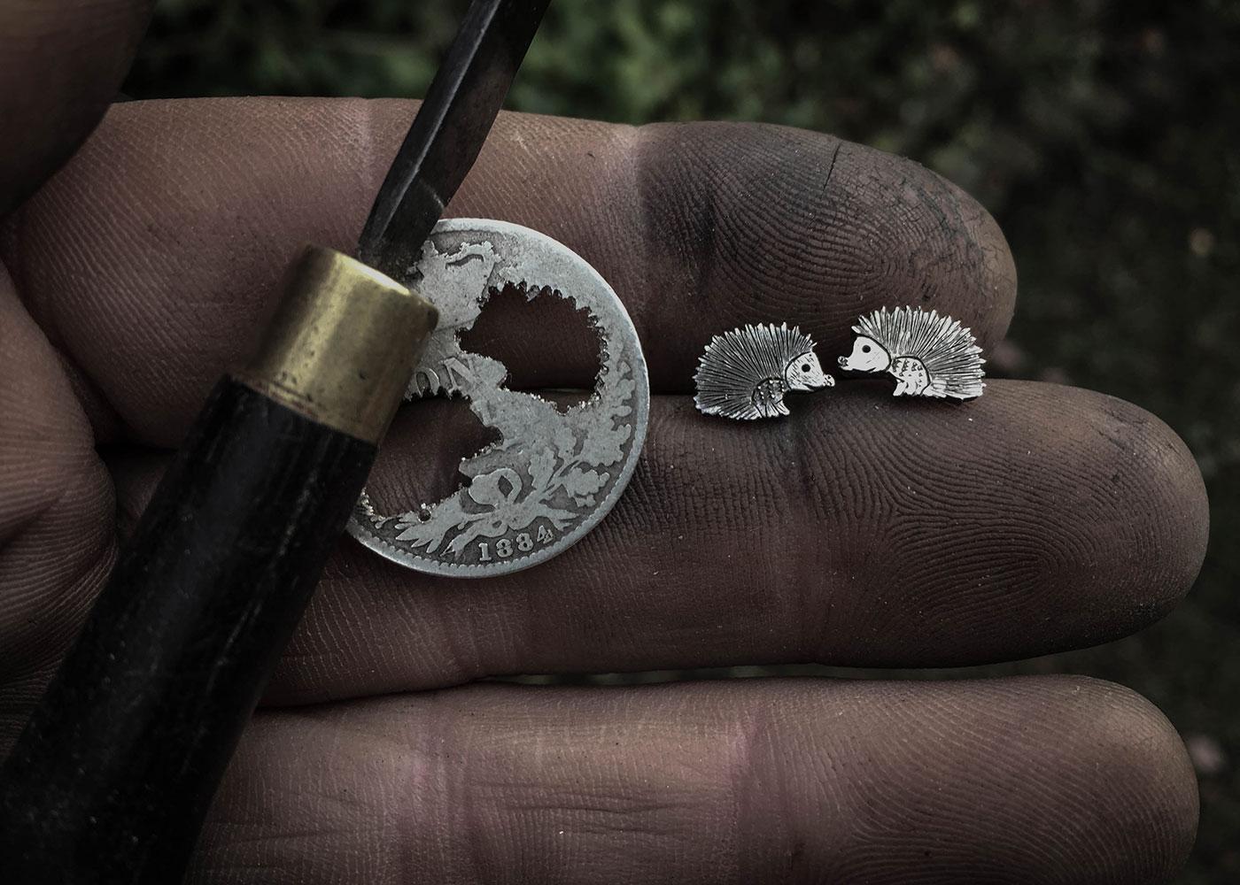 Handmade Hedgehog earrings
