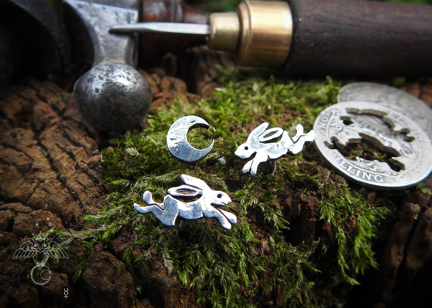 Magical hare earrings - handmade and recycled sterling silver shillings