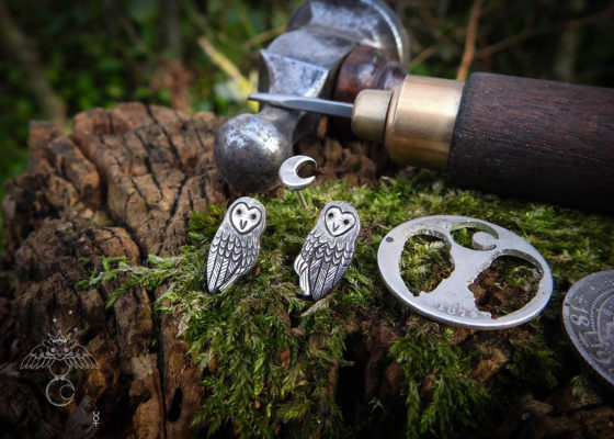 Barn owl earrings - handcrafted and recycled sterling silver shilling.