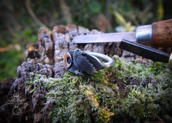 Raven ring – handmade and recycled sterling silver.