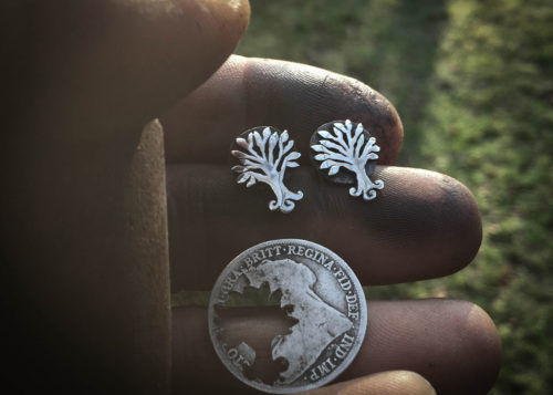 Tree of life earrings - handmade and recycled sterling silver shilling coins.