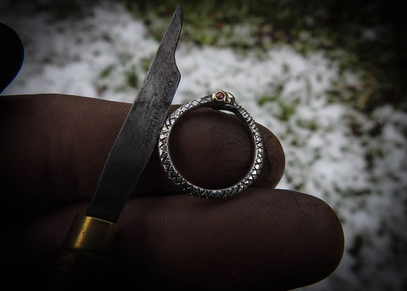Ouroboros ring - Jörmungandr handcrafted and Recycled antique sterling silver fork