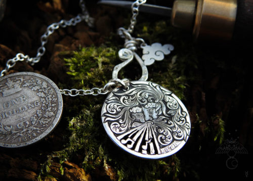 Aeolus the god of wind hand cut coin necklace