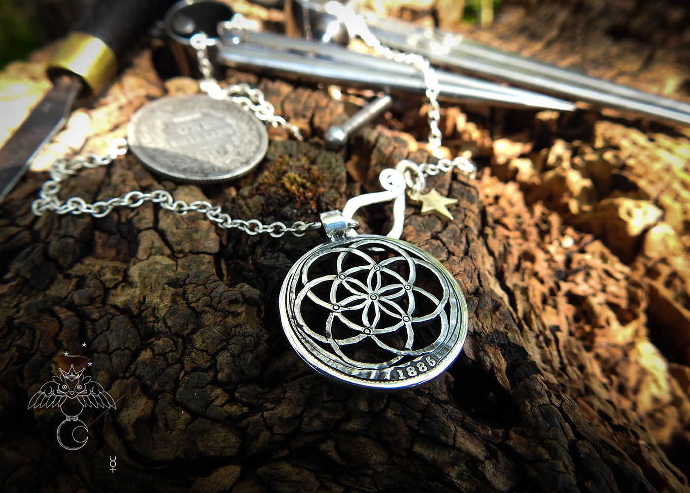 Sacred geometry jewellery - Handcrafted and recycled silver Victorian shilling.