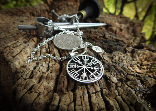 Vegvisir necklace - Recycled 100 year old silver shilling coin