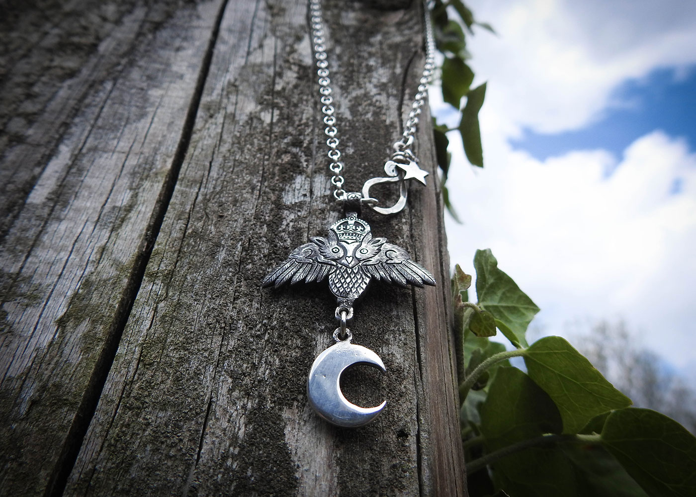 Owl necklace handcrafted and recycled original hairy growler design. Ethical jewellery made by an indepentant jewellers artisan studio. All themes and collections work in harmony with nature.
