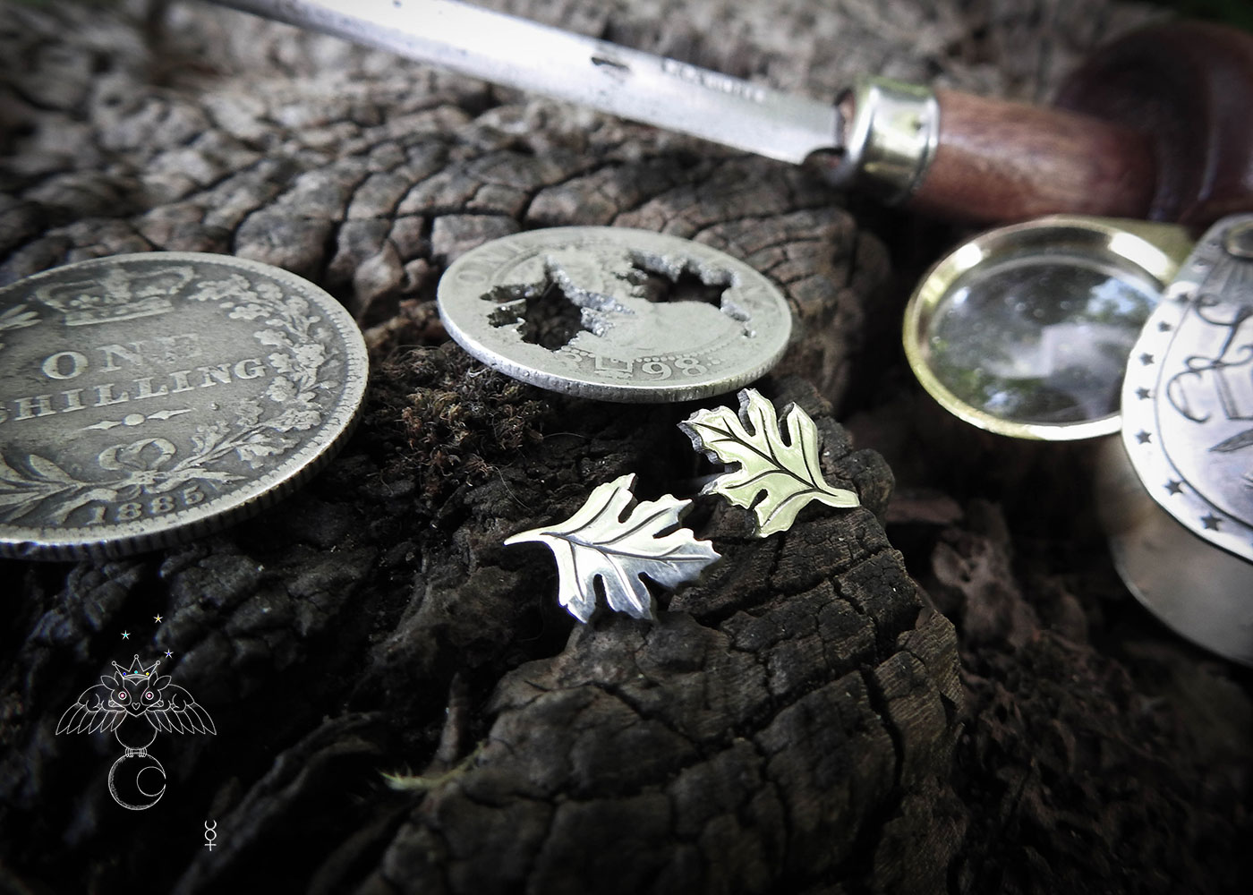 May Tree earrings - Hawthorn leaf stud earrings handcrafted and recycled from a 100 year old silver shilling.