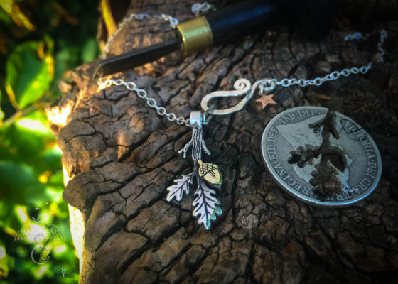 oak leaf necklace handmade from reused silver and bronze coins
